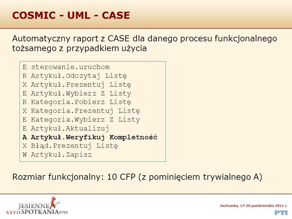 COSMIC - UML - CASE Automatyczny raport z CASE dla danego procesu funkcjonalnego tożsamego z przypadkiem użycia Rozmiar funkcjonalny: 10 CFP (z pomini