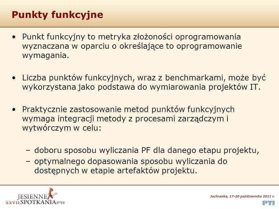 Punkty funkcyjne Punkt funkcyjny to metryka złożoności oprogramowania wyznaczana w oparciu o określające to oprogramowanie wymagania. Liczba punktów f