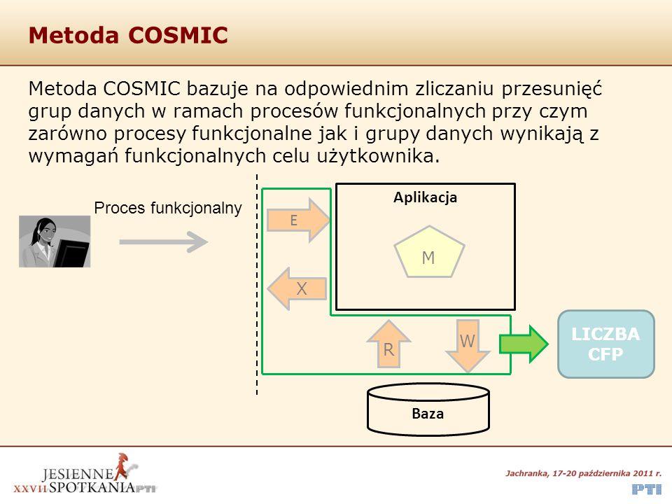 Metoda COSMIC Metoda COSMIC bazuje na odpowiednim zliczaniu przesunięć grup danych w ramach procesów funkcjonalnych przy czym zarówno procesy funkcjon