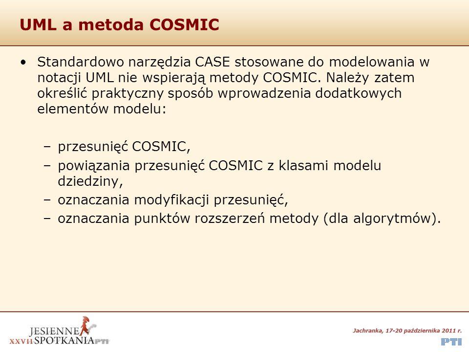 UML a metoda COSMIC Standardowo narzędzia CASE stosowane do modelowania w notacji UML nie wspierają metody COSMIC. Należy zatem określić praktyczny sp