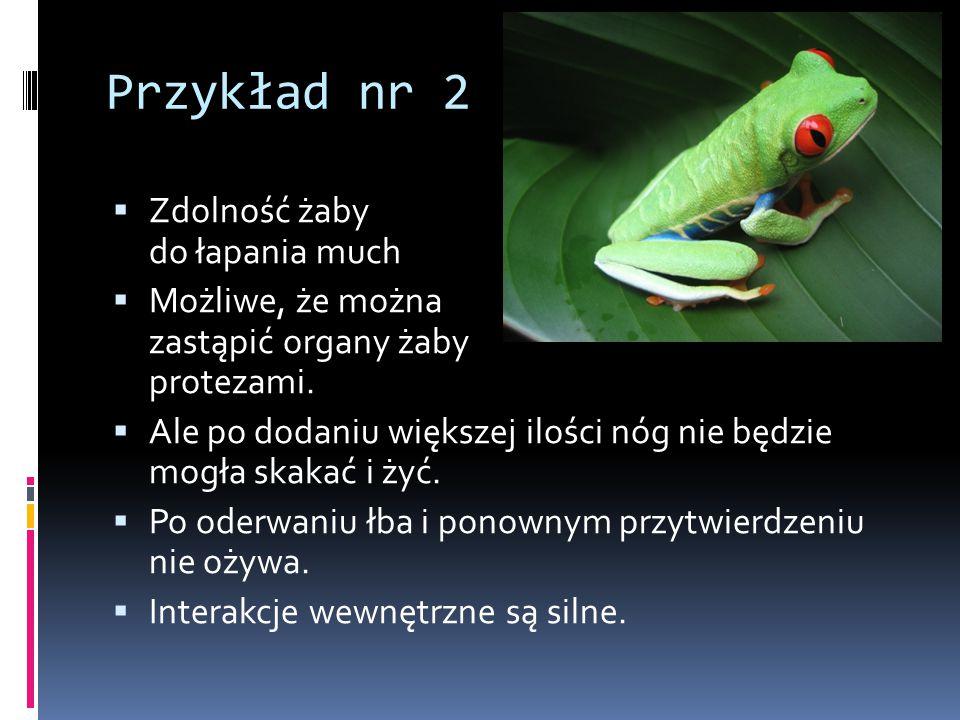 Przykład nr 2  Zdolność żaby do łapania much  Możliwe, że można zastąpić organy żaby protezami.  Ale po dodaniu większej ilości nóg nie będzie mogł