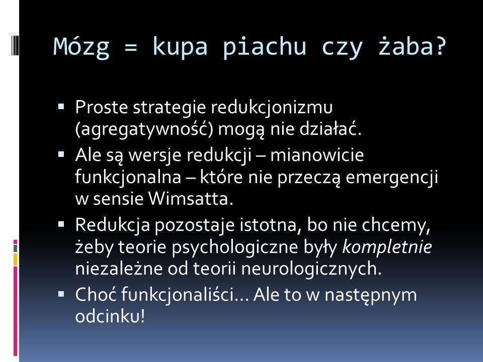 Mózg = kupa piachu czy żaba?  Proste strategie redukcjonizmu (agregatywność) mogą nie działać.  Ale są wersje redukcji – mianowicie funkcjonalna – k