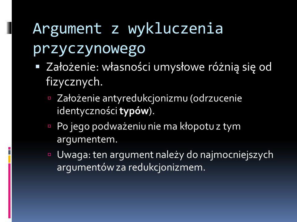 Argument z wykluczenia przyczynowego  Założenie: własności umysłowe różnią się od fizycznych.  Założenie antyredukcjonizmu (odrzucenie identyczności