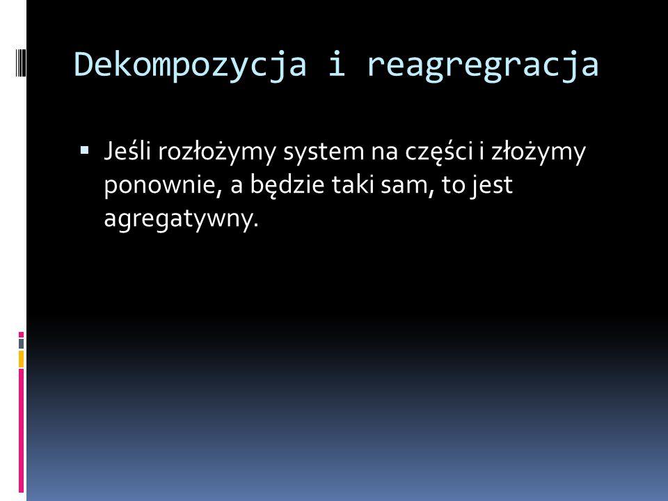 Dekompozycja i reagregracja  Jeśli rozłożymy system na części i złożymy ponownie, a będzie taki sam, to jest agregatywny.