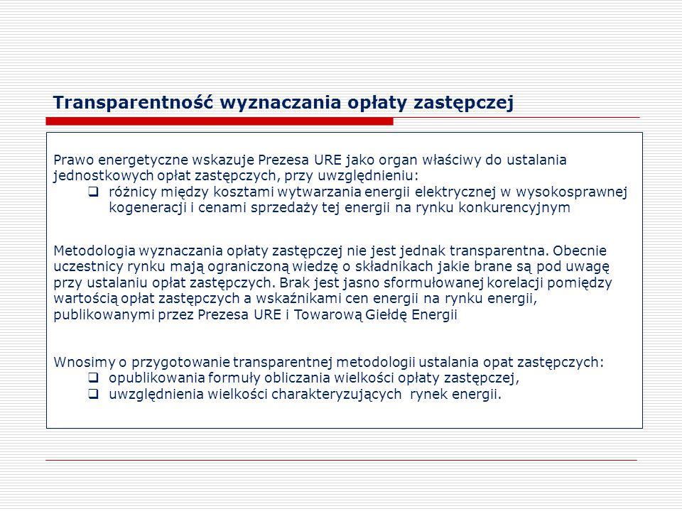 Transparentność wyznaczania opłaty zastępczej Prawo energetyczne wskazuje Prezesa URE jako organ właściwy do ustalania jednostkowych opłat zastępczych, przy uwzględnieniu:  różnicy między kosztami wytwarzania energii elektrycznej w wysokosprawnej kogeneracji i cenami sprzedaży tej energii na rynku konkurencyjnym Metodologia wyznaczania opłaty zastępczej nie jest jednak transparentna.