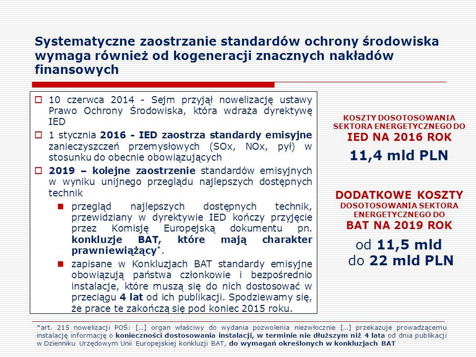 Systematyczne zaostrzanie standardów ochrony środowiska wymaga również od kogeneracji znacznych nakładów finansowych  10 czerwca 2014 - Sejm przyjął nowelizację ustawy Prawo Ochrony Środowiska, która wdraża dyrektywę IED  1 stycznia 2016 - IED zaostrza standardy emisyjne zanieczyszczeń przemysłowych (SOx, NOx, pył) w stosunku do obecnie obowiązujących  2019 – kolejne zaostrzenie standardów emisyjnych w wyniku unijnego przeglądu najlepszych dostępnych technik przegląd najlepszych dostępnych technik, przewidziany w dyrektywie IED kończy przyjęcie przez Komisję Europejską dokumentu pn.