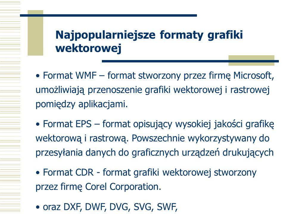 Najpopularniejsze formaty grafiki wektorowej Format WMF – format stworzony przez firmę Microsoft, umożliwiają przenoszenie grafiki wektorowej i rastro