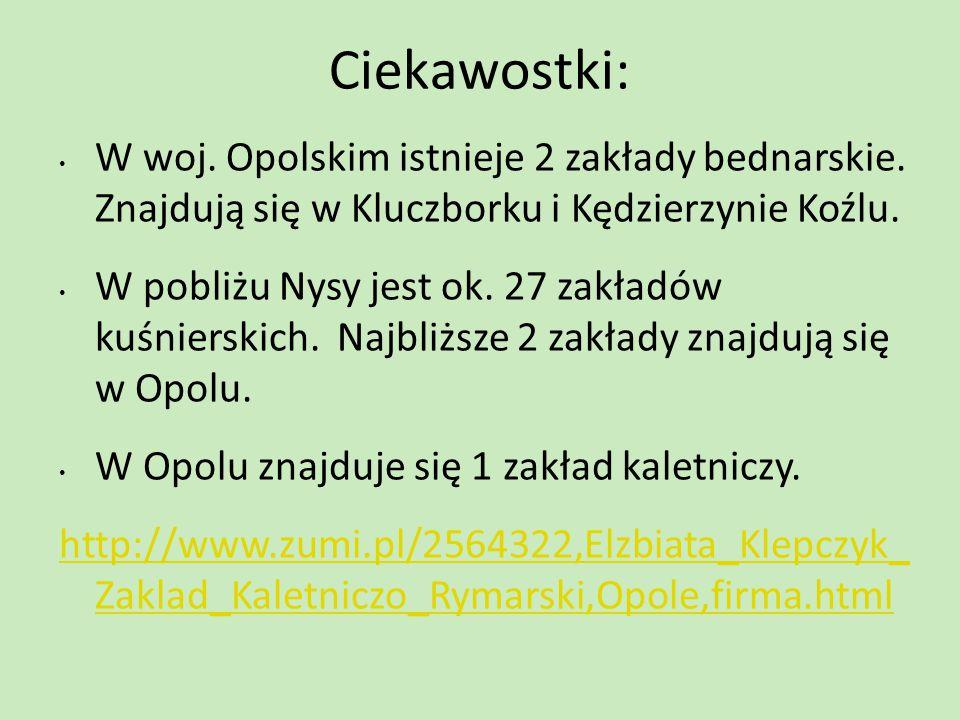 Ciekawostki: W woj. Opolskim istnieje 2 zakłady bednarskie. Znajdują się w Kluczborku i Kędzierzynie Koźlu. W pobliżu Nysy jest ok. 27 zakładów kuśnie