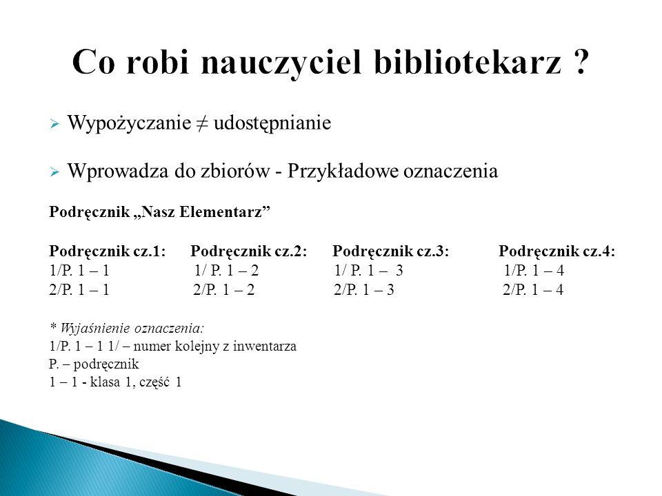 """ Wypożyczanie ≠ udostępnianie  Wprowadza do zbiorów - Przykładowe oznaczenia Podręcznik """"Nasz Elementarz"""" Podręcznik cz.1: Podręcznik cz.2: Podręczn"""