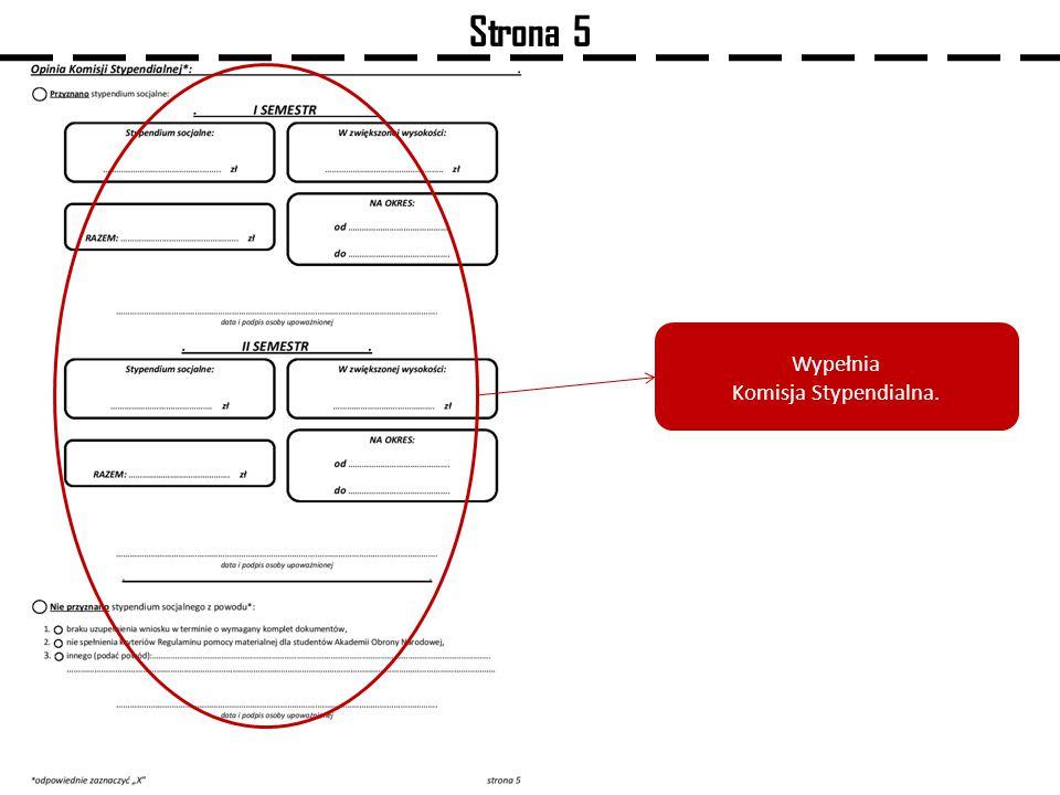 Strona 5 Wypełnia Komisja Stypendialna.