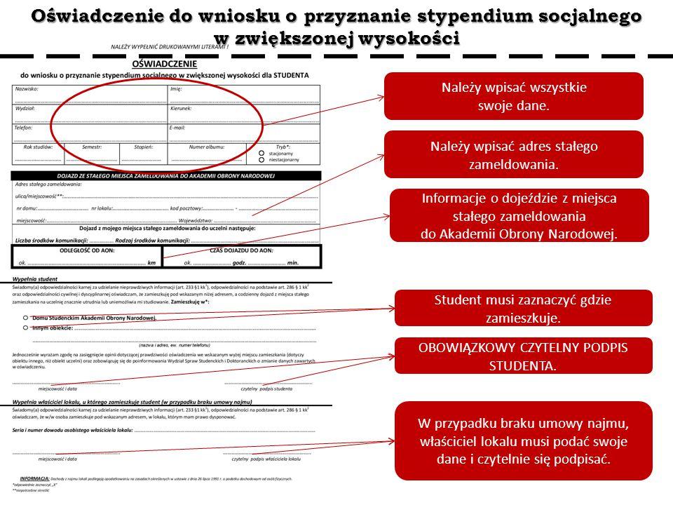 Oświadczenie do wniosku o przyznanie stypendium socjalnego w zwiększonej wysokości Należy wpisać wszystkie swoje dane. Student musi zaznaczyć gdzie za