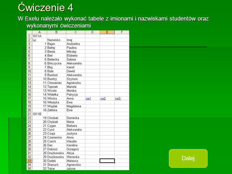 Ćwiczenie 4 W Exelu należało wykonać tabele z imionami i nazwiskami studentów oraz wykonanymi ćwiczeniami Dalej