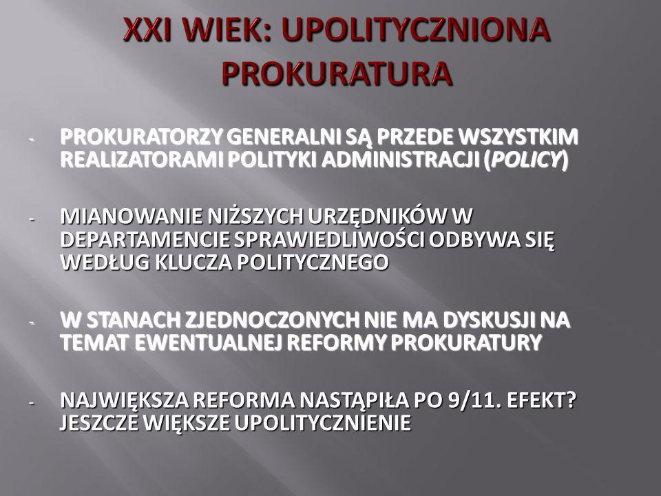 - PROKURATORZY GENERALNI SĄ PRZEDE WSZYSTKIM REALIZATORAMI POLITYKI ADMINISTRACJI (POLICY) - MIANOWANIE NIŻSZYCH URZĘDNIKÓW W DEPARTAMENCIE SPRAWIEDLI