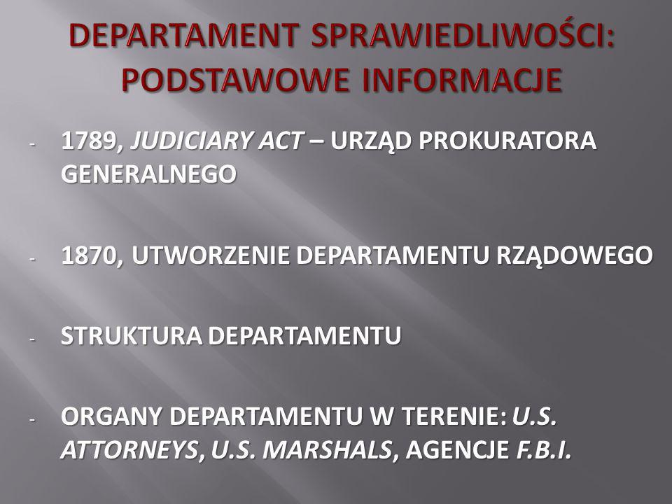 - 1789, JUDICIARY ACT – URZĄD PROKURATORA GENERALNEGO - 1870, UTWORZENIE DEPARTAMENTU RZĄDOWEGO - STRUKTURA DEPARTAMENTU - ORGANY DEPARTAMENTU W TEREN