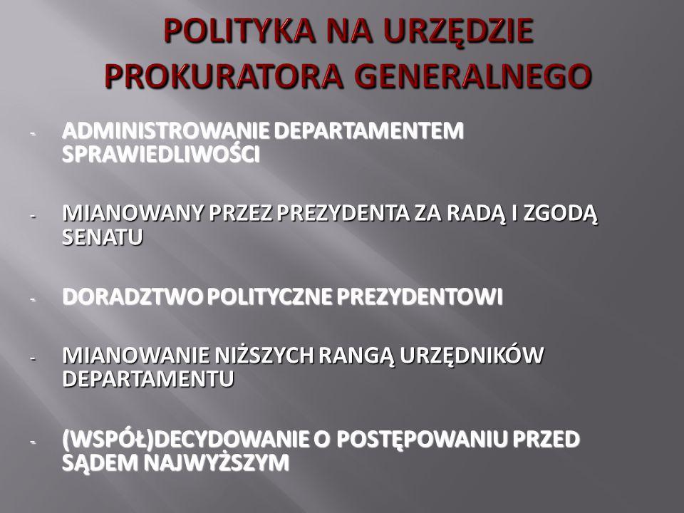 - ADMINISTROWANIE DEPARTAMENTEM SPRAWIEDLIWOŚCI - MIANOWANY PRZEZ PREZYDENTA ZA RADĄ I ZGODĄ SENATU - DORADZTWO POLITYCZNE PREZYDENTOWI - MIANOWANIE N