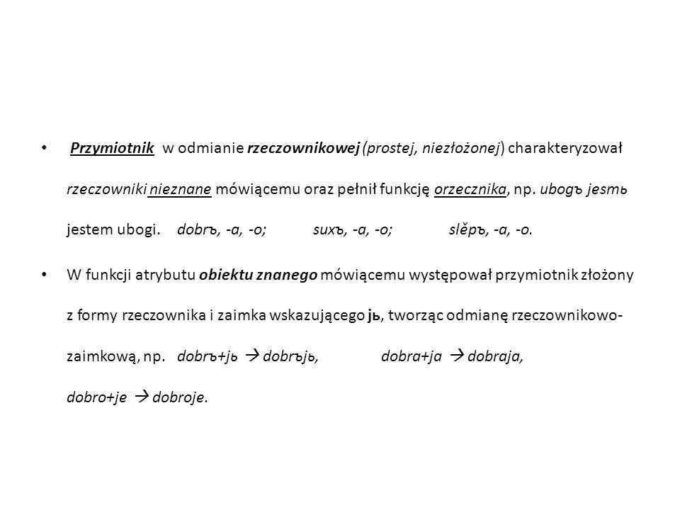 Przymiotnik w odmianie rzeczownikowej (prostej, niezłożonej) charakteryzował rzeczowniki nieznane mówiącemu oraz pełnił funkcję orzecznika, np.