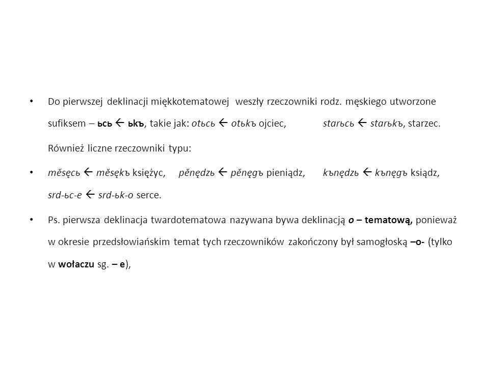Nieliczną deklinację druga (u- tematową) tworzyło 6 rzeczowników, ale bardzo często używanych: synъ, volъ, vrxъ, domъ, medъ, polъ.