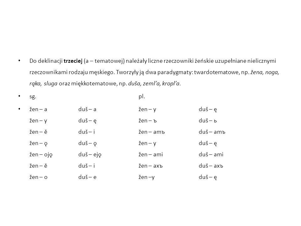 Do deklinacji trzeciej (a – tematowej) należały liczne rzeczowniki żeńskie uzupełniane nielicznymi rzeczownikami rodzaju męskiego.