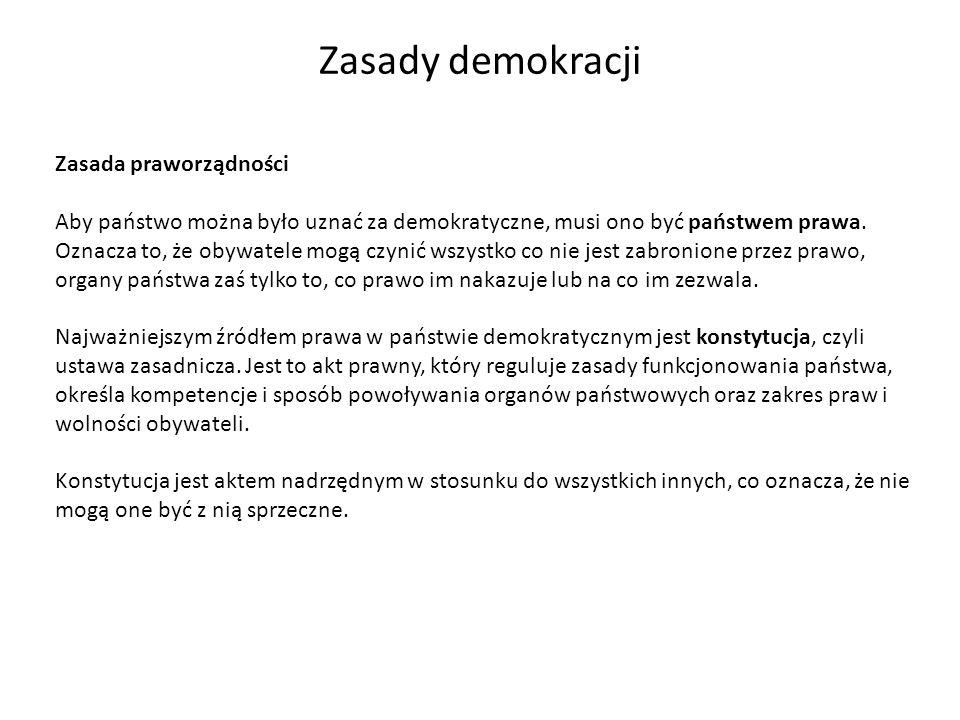 Zasady demokracji Zasada praworządności Aby państwo można było uznać za demokratyczne, musi ono być państwem prawa. Oznacza to, że obywatele mogą czyn