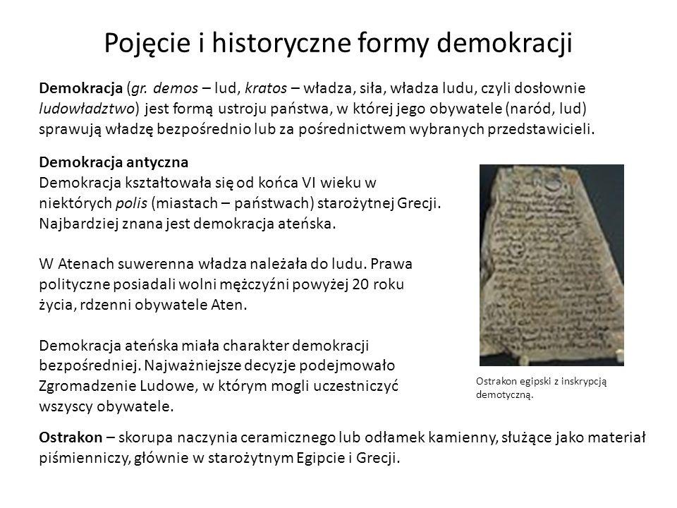 Demokracja (gr. demos – lud, kratos – władza, siła, władza ludu, czyli dosłownie ludowładztwo) jest formą ustroju państwa, w której jego obywatele (na