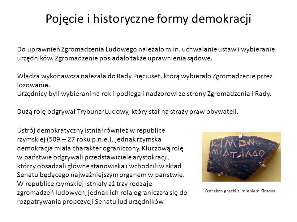 Pojęcie i historyczne formy demokracji Do uprawnień Zgromadzenia Ludowego należało m.in. uchwalanie ustaw i wybieranie urzędników. Zgromadzenie posiad