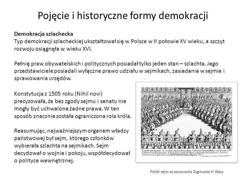 Pojęcie i historyczne formy demokracji Demokracja szlachecka Typ demokracji szlacheckiej ukształtował się w Polsce w II połowie XV wieku, a szczyt roz