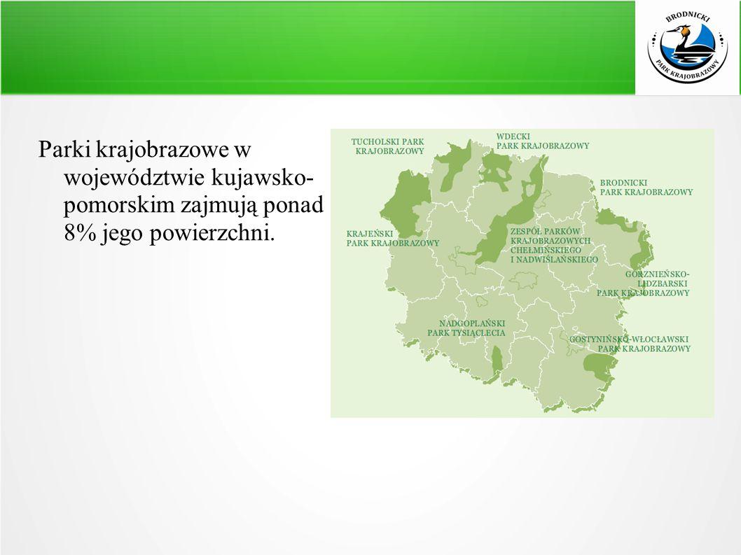 Parki krajobrazowe w województwie kujawsko- pomorskim zajmują ponad 8% jego powierzchni.