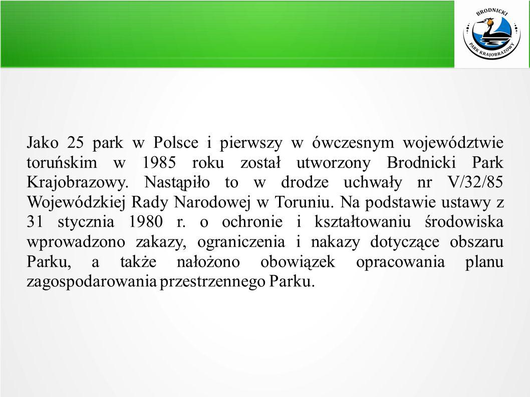 Jako 25 park w Polsce i pierwszy w ówczesnym województwie toruńskim w 1985 roku został utworzony Brodnicki Park Krajobrazowy.