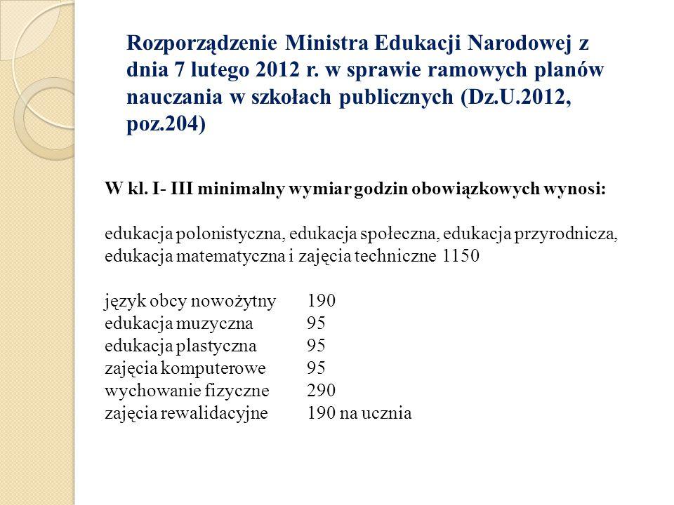 W kl. I- III minimalny wymiar godzin obowiązkowych wynosi: edukacja polonistyczna, edukacja społeczna, edukacja przyrodnicza, edukacja matematyczna i