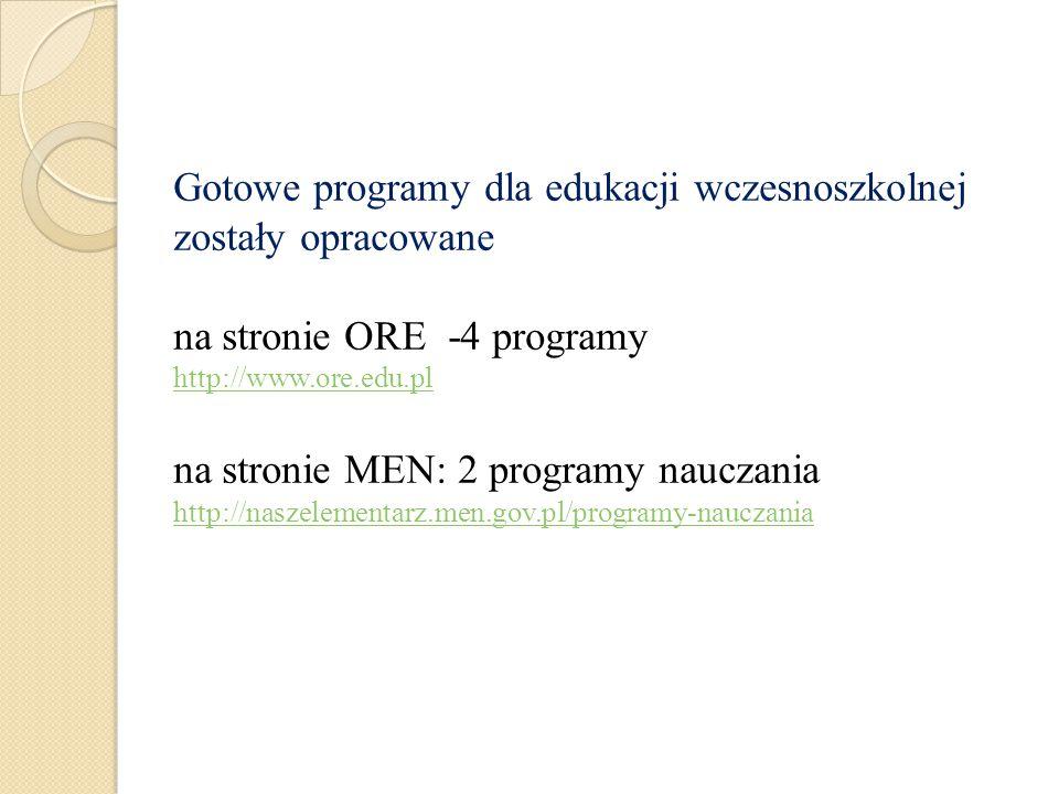 Gotowe programy dla edukacji wczesnoszkolnej zostały opracowane na stronie ORE -4 programy http://www.ore.edu.pl na stronie MEN: 2 programy nauczania