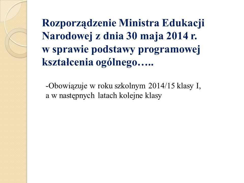 Rozporządzenie Ministra Edukacji Narodowej z dnia 30 maja 2014 r. w sprawie podstawy programowej kształcenia ogólnego….. -Obowiązuje w roku szkolnym 2