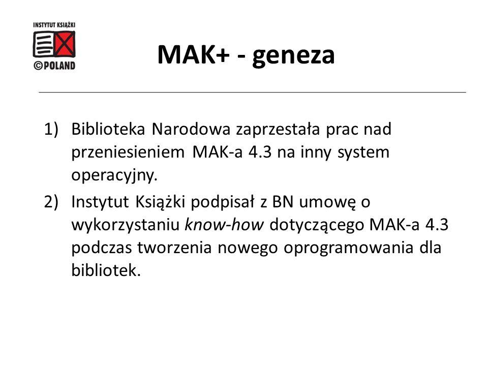 1)Biblioteka Narodowa zaprzestała prac nad przeniesieniem MAK-a 4.3 na inny system operacyjny. 2)Instytut Książki podpisał z BN umowę o wykorzystaniu