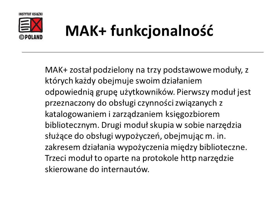 MAK+ został podzielony na trzy podstawowe moduły, z których każdy obejmuje swoim działaniem odpowiednią grupę użytkowników. Pierwszy moduł jest przezn