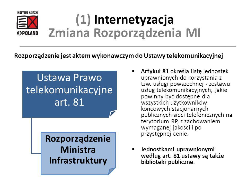  Artykuł 81 określa listę jednostek uprawnionych do korzystania z tzw. usługi powszechnej - zestawu usług telekomunikacyjnych, jakie powinny być dost