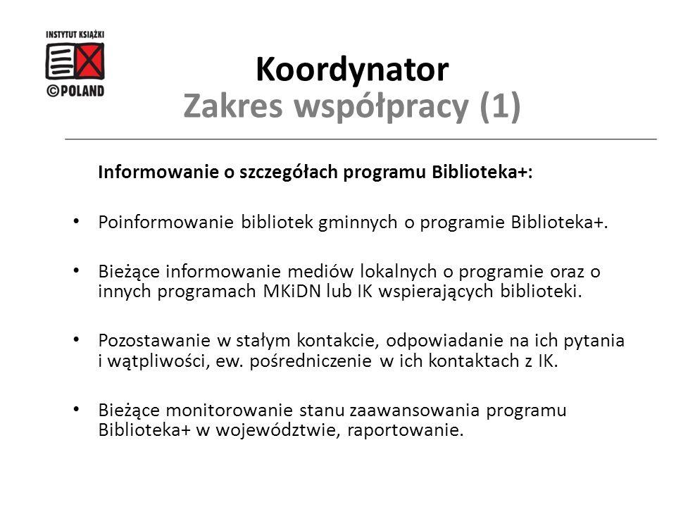 Informowanie o szczegółach programu Biblioteka+: Poinformowanie bibliotek gminnych o programie Biblioteka+. Bieżące informowanie mediów lokalnych o pr