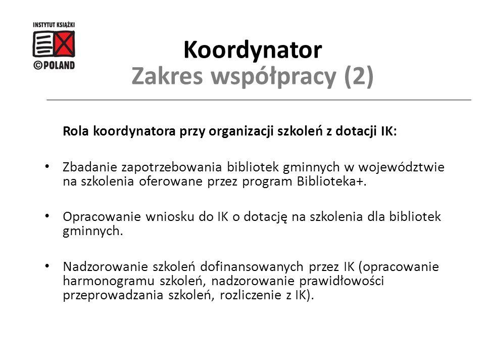 Rola koordynatora przy organizacji szkoleń z dotacji IK: Zbadanie zapotrzebowania bibliotek gminnych w województwie na szkolenia oferowane przez progr
