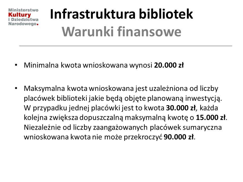 Infrastruktura bibliotek Warunki finansowe Minimalna kwota wnioskowana wynosi 20.000 zł Maksymalna kwota wnioskowana jest uzależniona od liczby placów