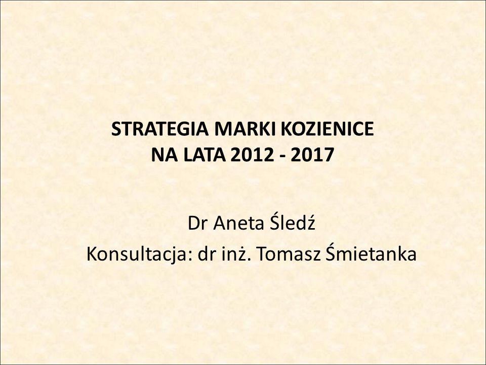 STRATEGIA MARKI KOZIENICE NA LATA 2012 - 2017 Dr Aneta Śledź Konsultacja: dr inż. Tomasz Śmietanka