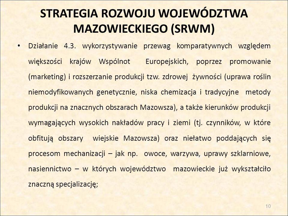 STRATEGIA ROZWOJU WOJEWÓDZTWA MAZOWIECKIEGO (SRWM) Działanie 4.3. wykorzystywanie przewag komparatywnych względem większości krajów Wspólnot Europejsk