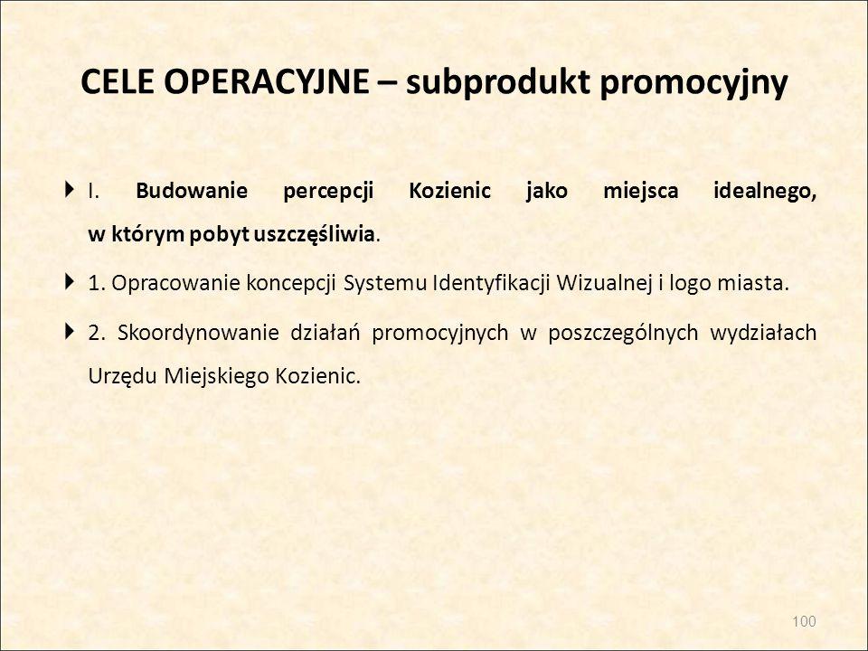 CELE OPERACYJNE – subprodukt promocyjny  I. Budowanie percepcji Kozienic jako miejsca idealnego, w którym pobyt uszczęśliwia.  1. Opracowanie koncep