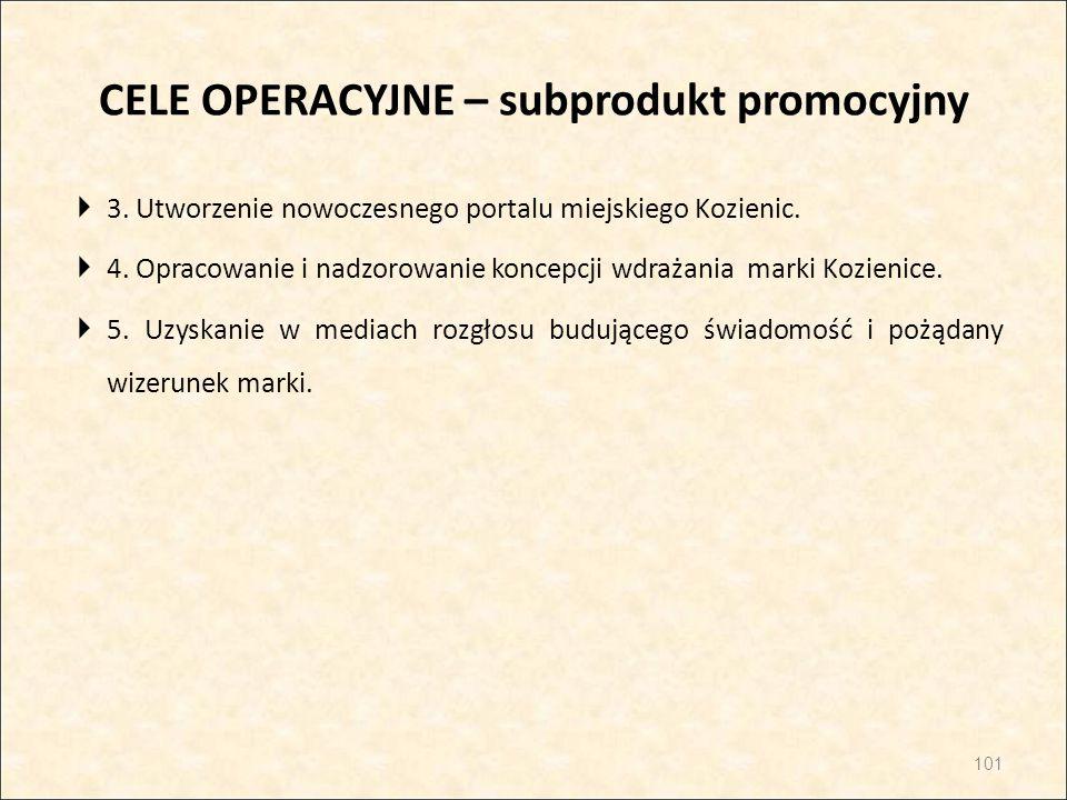 CELE OPERACYJNE – subprodukt promocyjny  3. Utworzenie nowoczesnego portalu miejskiego Kozienic.  4. Opracowanie i nadzorowanie koncepcji wdrażania