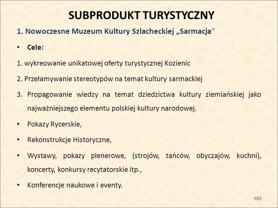 """SUBPRODUKT TURYSTYCZNY 1. Nowoczesne Muzeum Kultury Szlacheckiej """"Sarmacja"""" Cele: 1. wykreowanie unikatowej oferty turystycznej Kozienic 2. Przełamywa"""