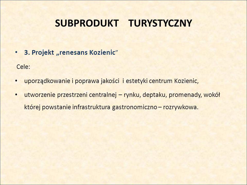 """SUBPRODUKT TURYSTYCZNY 3. Projekt """"renesans Kozienic """" Cele: uporządkowanie i poprawa jakości i estetyki centrum Kozienic, utworzenie przestrzeni cent"""
