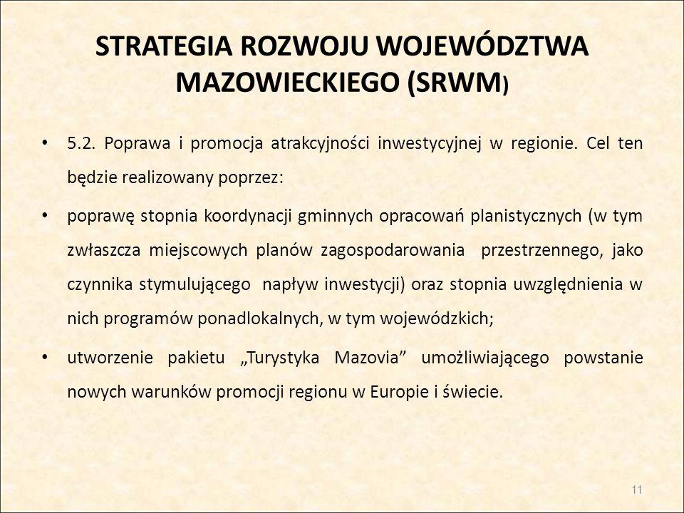STRATEGIA ROZWOJU WOJEWÓDZTWA MAZOWIECKIEGO (SRWM ) 5.2. Poprawa i promocja atrakcyjności inwestycyjnej w regionie. Cel ten będzie realizowany poprzez