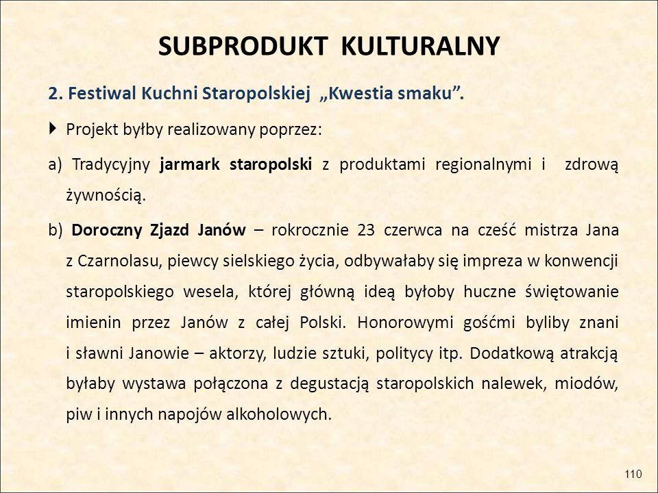 """SUBPRODUKT KULTURALNY 2. Festiwal Kuchni Staropolskiej """"Kwestia smaku"""".  Projekt byłby realizowany poprzez: a) Tradycyjny jarmark staropolski z produ"""