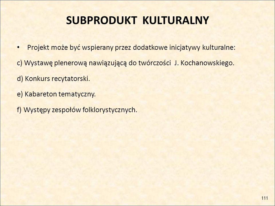 SUBPRODUKT KULTURALNY Projekt może być wspierany przez dodatkowe inicjatywy kulturalne: c) Wystawę plenerową nawiązującą do twórczości J. Kochanowskie