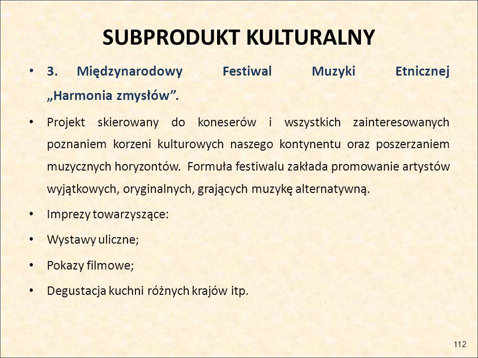 """SUBPRODUKT KULTURALNY 3.Międzynarodowy Festiwal Muzyki Etnicznej """"Harmonia zmysłów"""". Projekt skierowany do koneserów i wszystkich zainteresowanych poz"""