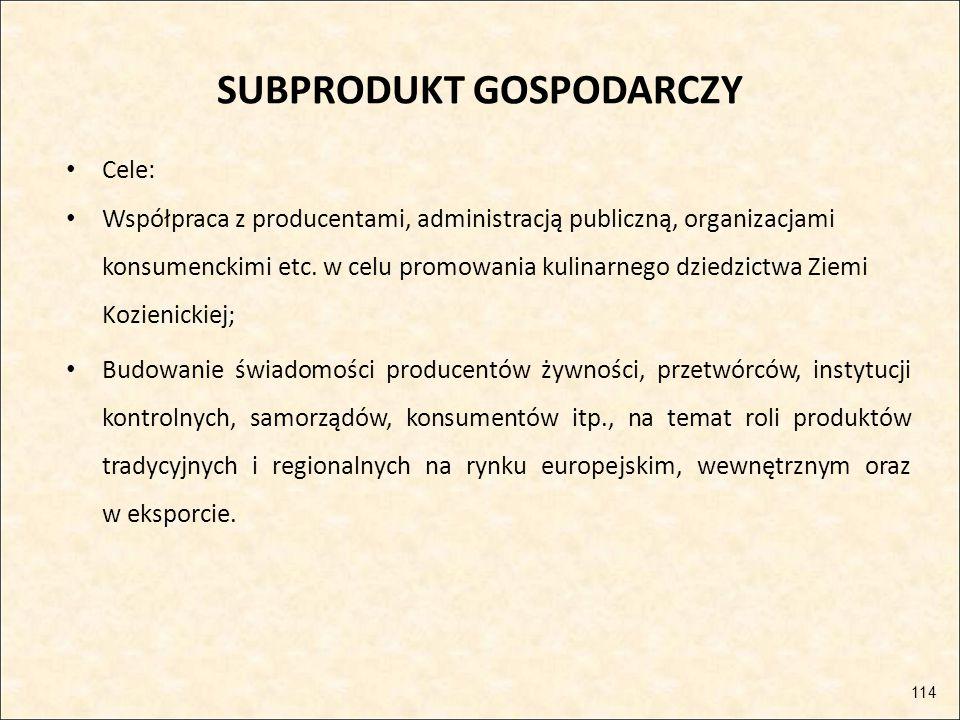 SUBPRODUKT GOSPODARCZY Cele: Współpraca z producentami, administracją publiczną, organizacjami konsumenckimi etc. w celu promowania kulinarnego dziedz