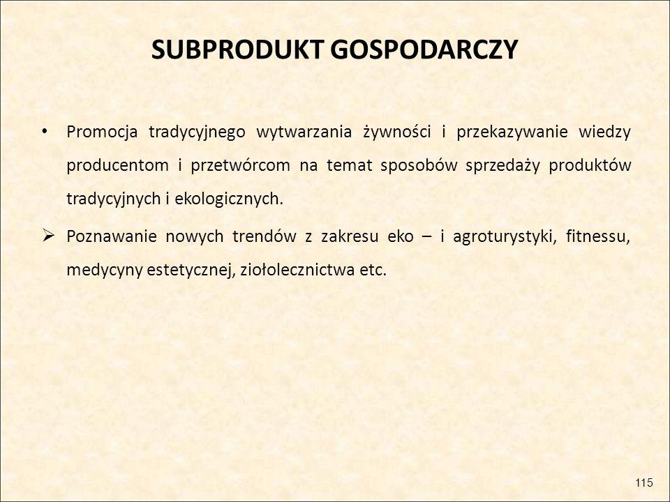 SUBPRODUKT GOSPODARCZY Promocja tradycyjnego wytwarzania żywności i przekazywanie wiedzy producentom i przetwórcom na temat sposobów sprzedaży produkt