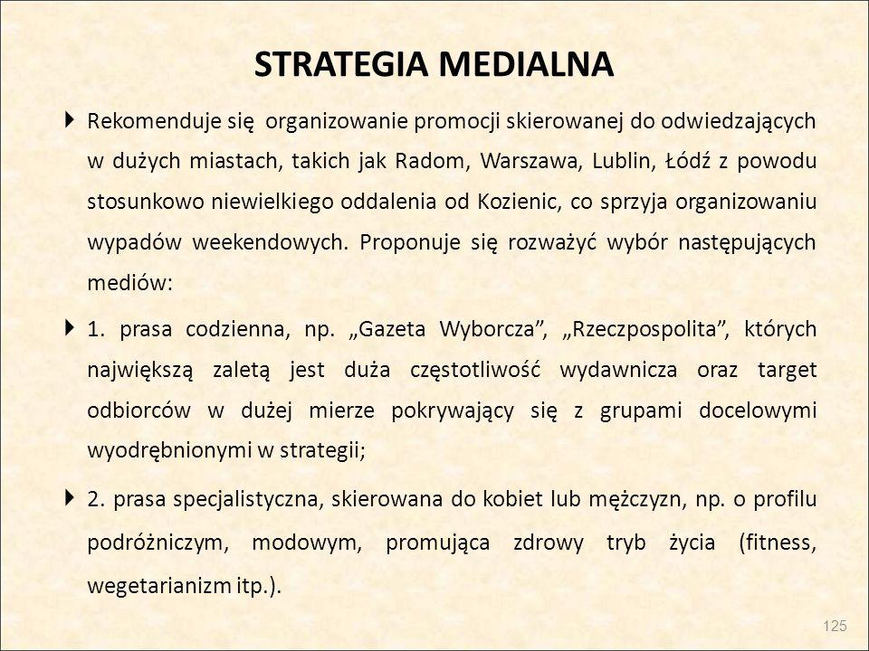 STRATEGIA MEDIALNA  Rekomenduje się organizowanie promocji skierowanej do odwiedzających w dużych miastach, takich jak Radom, Warszawa, Lublin, Łódź